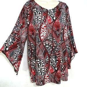 New Directions Tunic Top V-neck Women Size 1X Red
